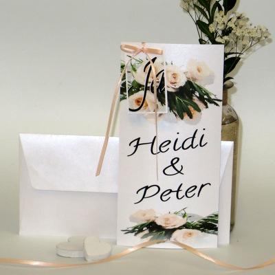 """Hochzeitseinladung """"Rosenhochzeit"""" apricot"""