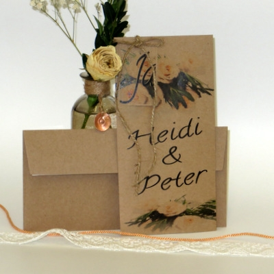 """Hochzeitseinladung """"Roses"""" apricot im Vintage Look"""