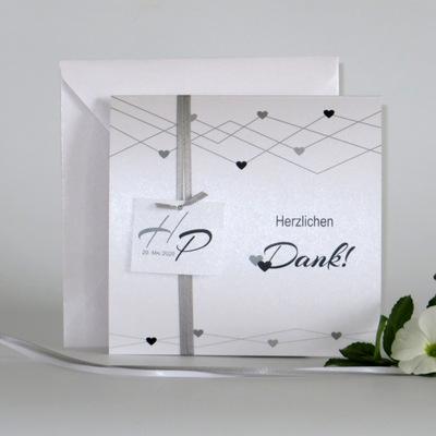"""Dankeskarte """"Farbherzen"""" schwarz & weiß"""