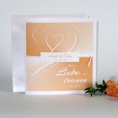 """Hochzeitseinladung """"Farbharmonie"""" apricot"""