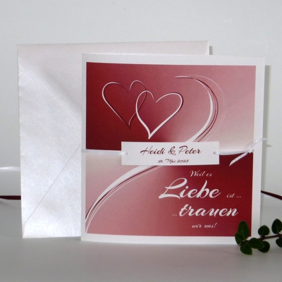 """Einladungskarte zur Hochzeit """"Farbharmonie"""" rot"""
