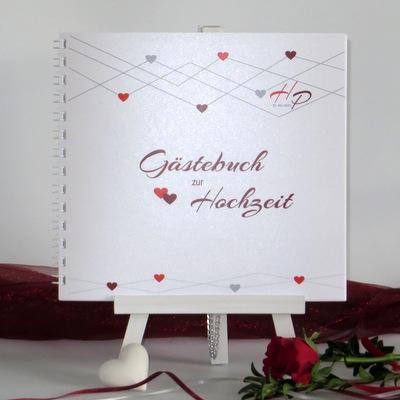 "Gästebuch ""Farbherzen"" rot"