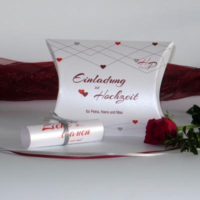 """Hochzeitseinladungsbox """"Farbherzen"""" rot"""