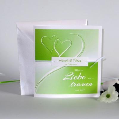 """Hochzeitseinladung """"Farbharmonie"""" grün"""