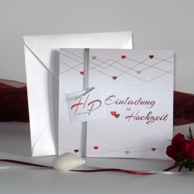 """Hochzeitseinladung """"Farbherzen"""" rot"""