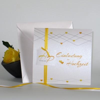 """Hochzeitseinladung """"Farbherzen"""" gelb"""