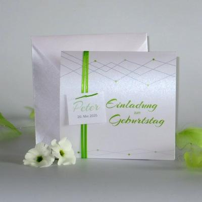 """Geburtstagseinladung """"Farbpunkte"""" grün"""