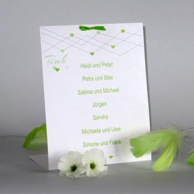 """Gruppentischkarte """"Farbherzen"""" grün"""