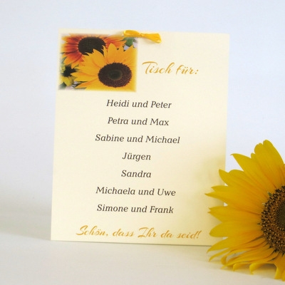 """Gruppentischkarte """"Sonnenblume"""""""