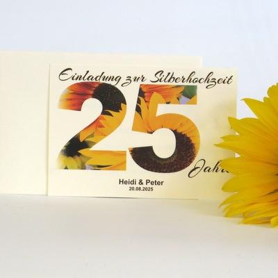 """Einladung zur Silberhochzeit """"Sonnenblume"""""""