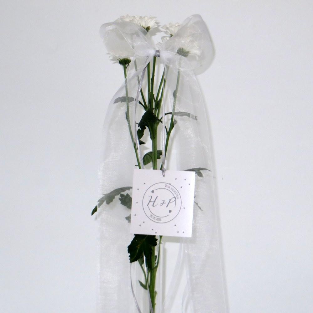 Hochzeitsschleife Konfetti grau
