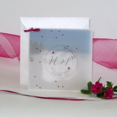 """Foto-Hochzeitseinladung """"Konfetti"""" pink"""