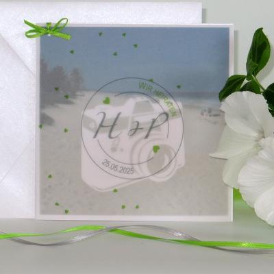 """Foto-Hochzeitseinladung """"Konfetti"""" grün"""