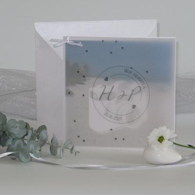 """Foto-Hochzeitseinladung """"Konfetti"""" grau"""