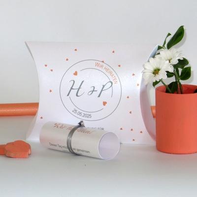"""Hochzeitseinladungsbox """"Konfetti"""" apricot"""