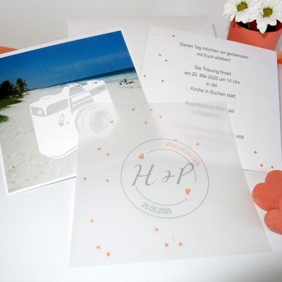 """Foto-Hochzeitseinladung """"Konfetti"""" apricot"""