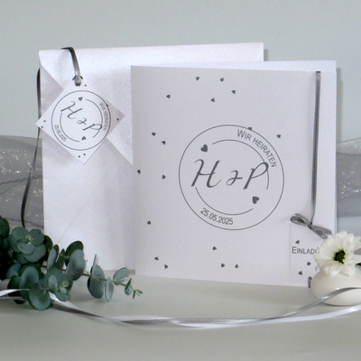 "Hochzeitseinladung ""Konfetti"" grau"