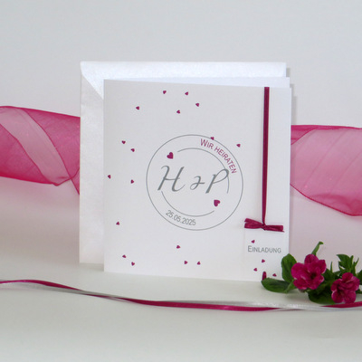 """Hochzeitseinladung """"Konfetti"""" pink"""