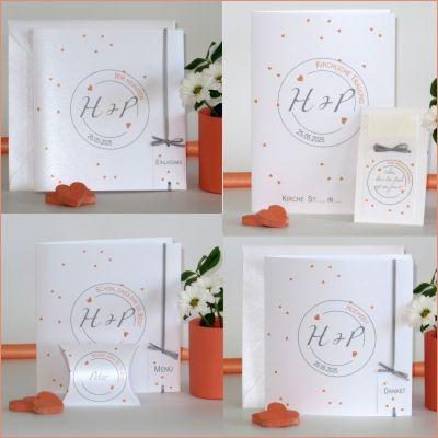 Hochzeitsartikel mit süßen Herzen und modernen Akzenten in apricot und grau