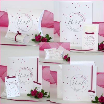 """Kartenset passend zur Hochzeitseinladung """"Konfetti"""" pink"""