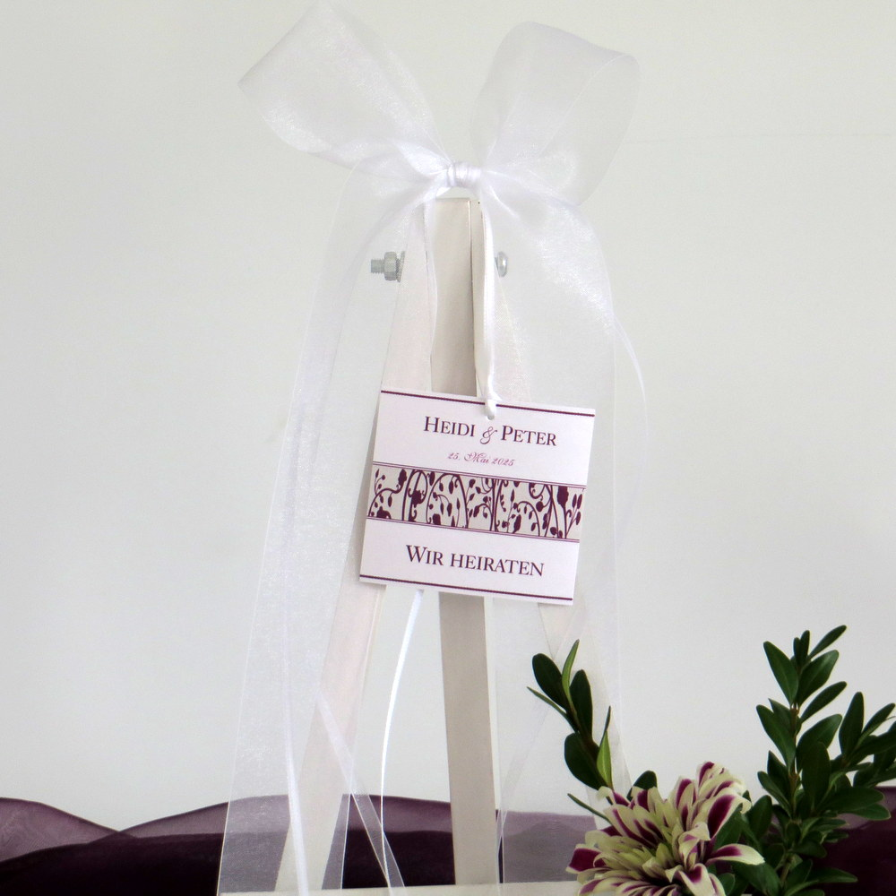 Hochzeitsschleife Florales Design in aubergine