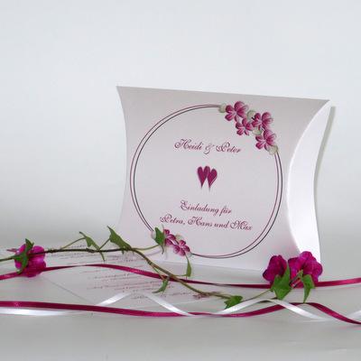 """Hochzeitseinladungsbox """"Blumenkranz"""" pink"""