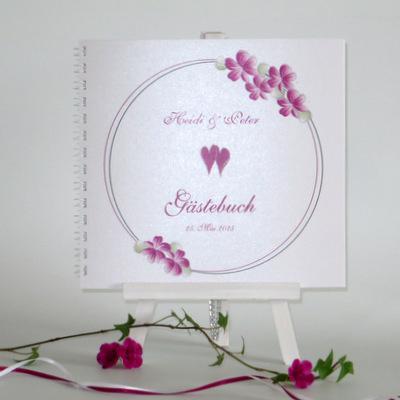 """Gästebuch """"Blumenkranz"""" pink"""