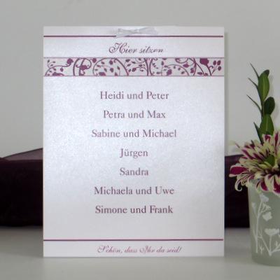 """Gruppentischkarte """"Florales Design"""" aubergine Geburtstag"""