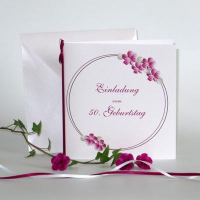 """Geburtstagseinladung """"Blumenkranz"""" pink"""
