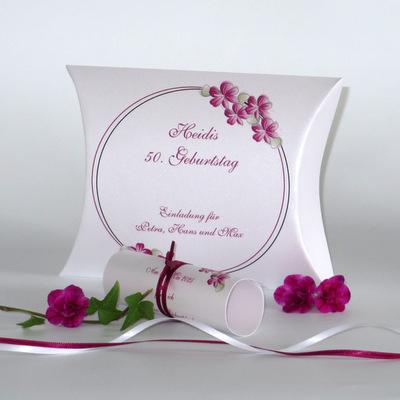"""Geburtstagseinladungsbox """"Blumenkranz"""" pink"""
