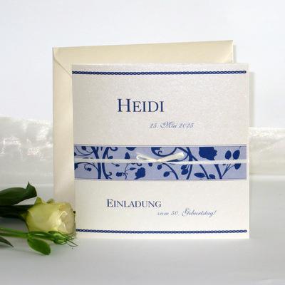 "Geburtstagseinladung ""Florales Design"" blau"
