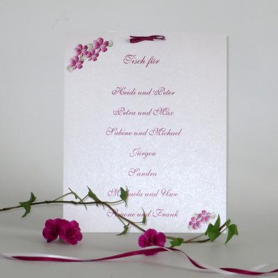 """Gruppentischkarte """"Blumenkranz"""" pink"""