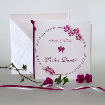 "Dankeskarte ""Blumenkranz"" pink"