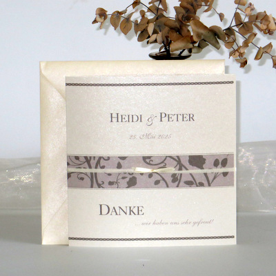 "Dankeskarte ""Florales Design"" taupe"