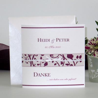 "Dankeskarte ""Florales Design"" aubergine"