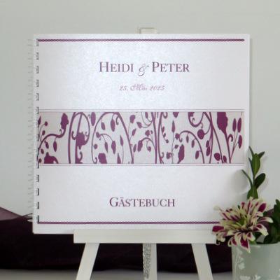 """Gästebuch """"Florales Design"""" aubergine"""