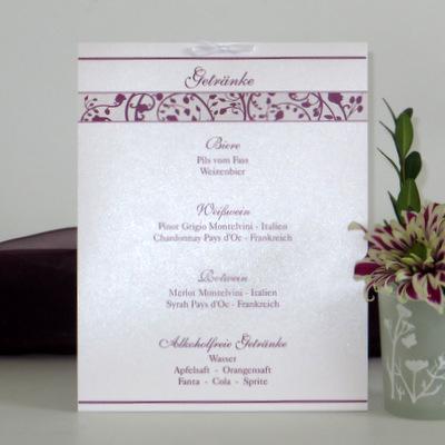 """Getränkekarte """"Florales Design"""" aubergine"""