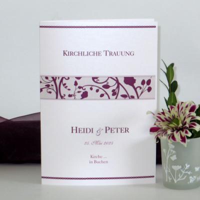 "Kirchenheft ""Florales Design"" aubergine"
