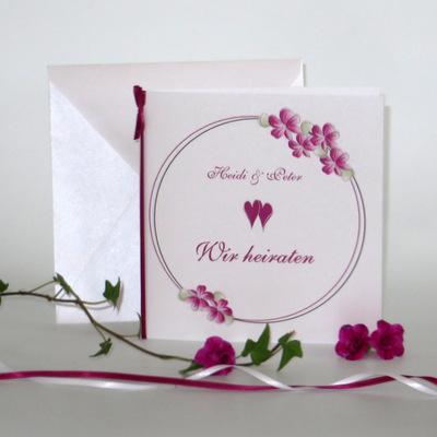 """Hochzeitseinladung """"Blumenkranz"""" pink"""