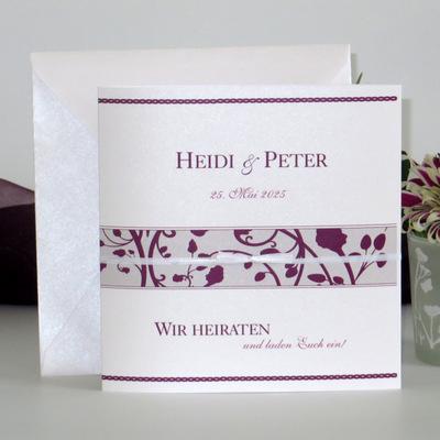 """Hochzeitseinladung """"Florales Design"""" aubergine"""