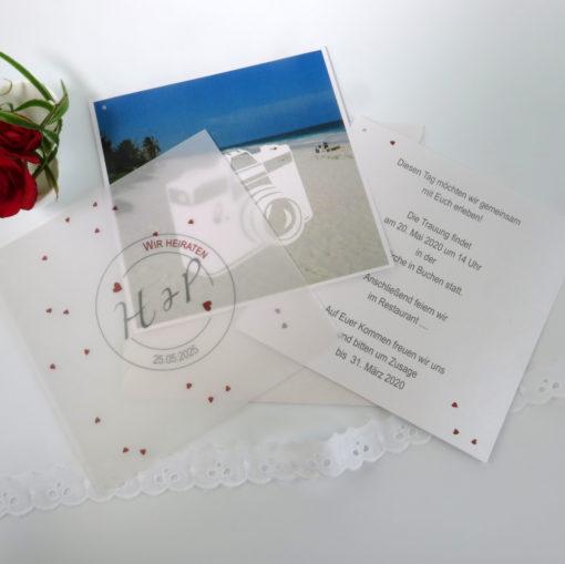 "Foto-Hochzeitseinladung ""Konfetti"" bordeaux"
