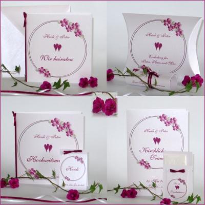 Farbenfroh gestaltete Hochzeitspapeterie mit einem Blumenmotiv in trendigem Pink.