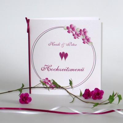 "Menükarte ""Blumenkranz"" pink"