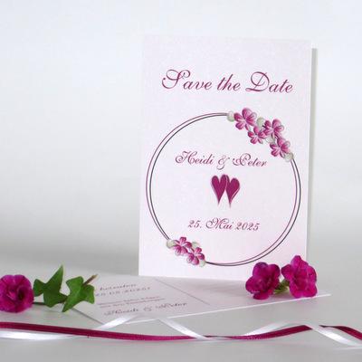 """Save the Date """"Blumenkranz"""" pink"""