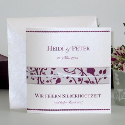 """Einladung zur Silberhochzeit """"Florales Design"""" aubergine"""