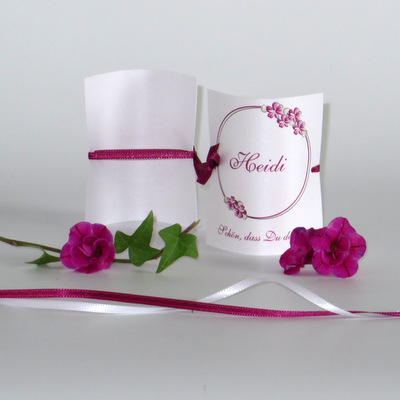 """Tischkarte """"Blumenkranz"""" pink"""