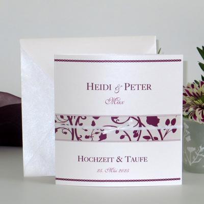 "Traufeinladung ""Florales Design"" aubergine"