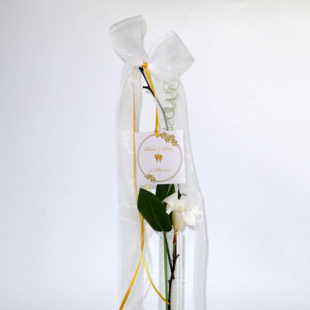 Hochzeitsschleife Blumenkranz in gelb
