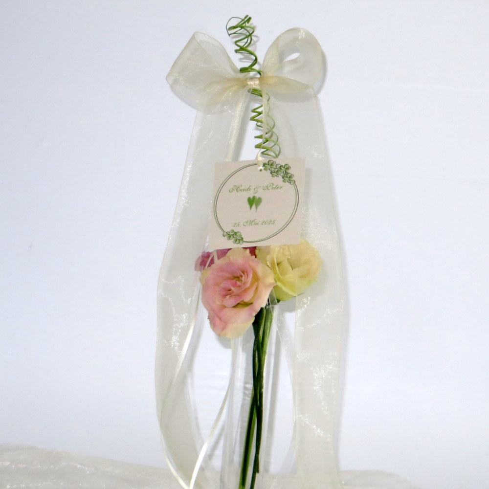 Hochzeitsschleife Blumenkranz in grün