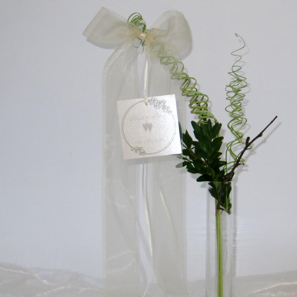 Hochzeitsschleife Blumenkranz in taupe